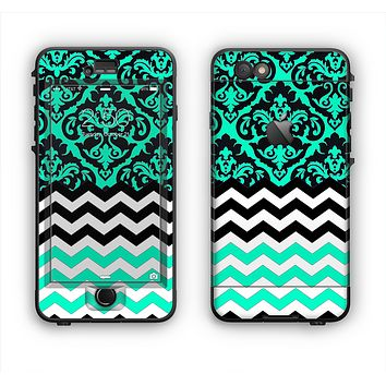 The Mirrored Trendy Green V2 Chevron Delicate Apple iPhone 6 LifeProof Nuud Case Skin Set
