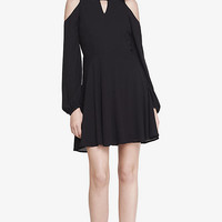 BLACK COLD SHOULDER KEYHOLE FIT AND FLARE DRESS from EXPRESS