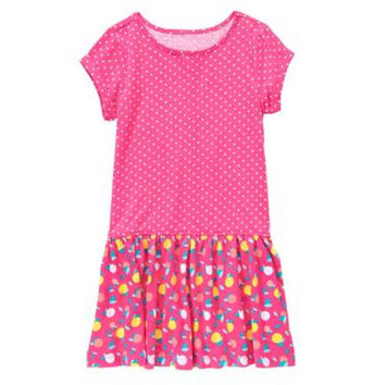 Gymboree Fruit Print Pink Drop Waist Dress - Girls S (5-6), M (7-8)