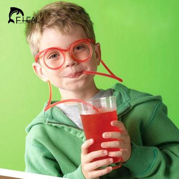 FHEAL Funny Soft Drinking Straw Eye Glasses Novelty Toy Party Birthday Gift Child Adult DIY Straws Bar Accessories