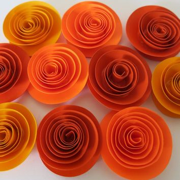 "Autumn floral Decor, Gold and Orange flowers, set of 12, Thanksgiving dinner table decor, Fall wedding decorations 1.5"" roses, festival art"