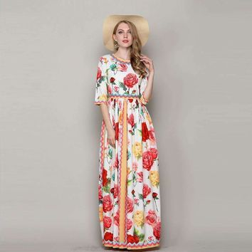 Flowers Print Long Floral Dress Half-Sleeve O_Neck Floor-Length Maxi Dress