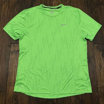 Nike Nike Running Dri Fit Neon Green Reflective Athletic Gym Workout Shirt Mens Size L Large Size L $25