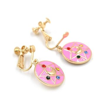 Sailor Moon Kawaii Pink Womens Anime Earrings