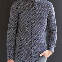 Your Neighbors Leaf Button-Down Shirt- Navy