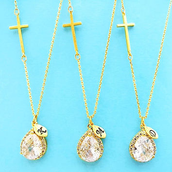 Set of 1-4, Personalized, Letter, Initial, Sideways, Cross, Cubic, Gold, Silver, Necklace, Sets, Jewelry sets, Wedding, Bridesmaid, Gift