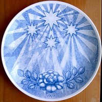 Gustavsberg 1979 Christmas Plate by Sven Jonson titled Christmas Carol Lo, How a Rose E'er Blooming