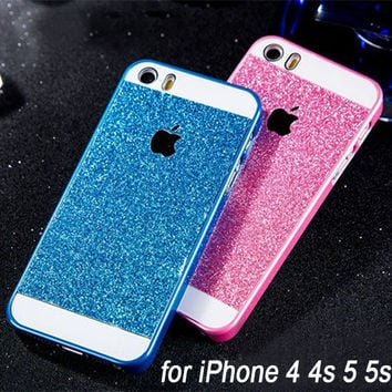 Luxury Colorful Shiny Bling Bling Cell phone Case for iPhone 4 4s 4g 5 5s 5g Five Colors gold fundas capa capinha cover