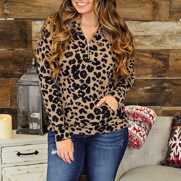 * Time Stops Around Here Leopard Quarter Zip Pullover: Carmel