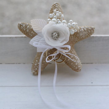 Starfish Ring Pillow. Beach Wedding Alternative Ring Bearer Pillow.