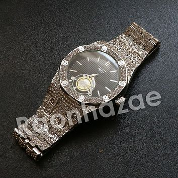 Iced Out Hip Hop Silver Techno Pave Dark Face Wrist Watch