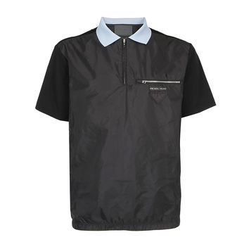 Black Hybrid Zip Polo Shirt by Prada