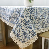 Blue And White Porcelain Pattern Tablecloths Vintage Chinese Style Table Cloths High Quality Cotton Linen Rectangular Tablecloth