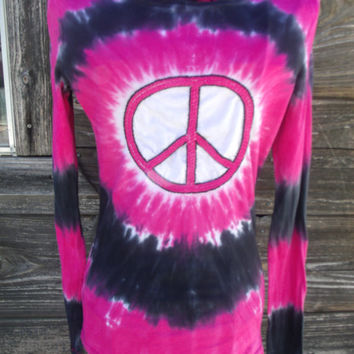 Upcycled Tie Dyed Peace Sign Top
