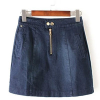Blue Zip Up Denim Mini Skirt with Buttons