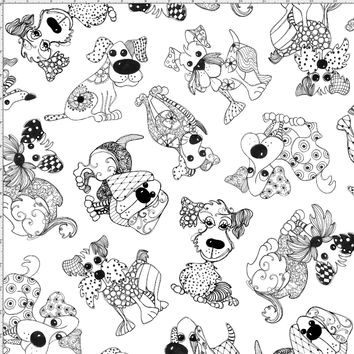 Doodle Dogs White Fabric
