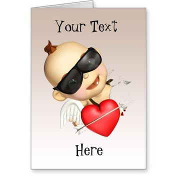 Baby Cupid with Sunglasses Greeting Card