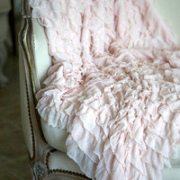 Soft Ruffled Throw Blanket. Available in White, Cream, Pink, Grey, Blue, and Lavender.