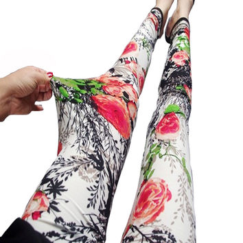 National Ethnic style Leggings Printed Flowers trousers Landscape painting Legins High Elastic Design Vintage graffiti Thin Pant