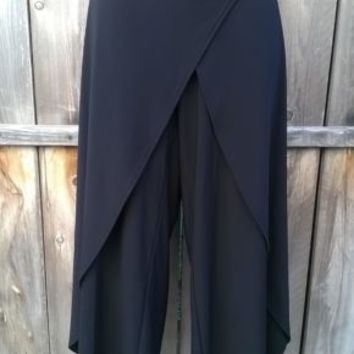 Sympli BOHO-HIPPIE-LAGENLOOK Wrap Pants Women's Size 8 Harem Black Palazzo small