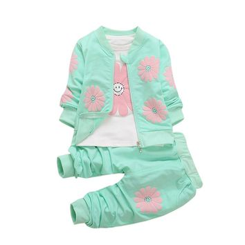 2017 New Kids Infant Baby Girls Coat +T-shirt Tops + Pants Sun Flower Print Set  Spring Autumn Kids Clothes Outfit Clothing