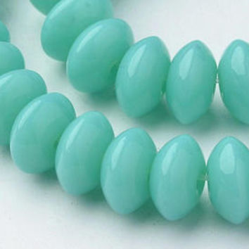 13 Inch Strand - 8x4mm  Opaque Medium Turquoise Abacus Beads - Rondelle - Glass Beads - Abacus Beads - Jewelry Supplies