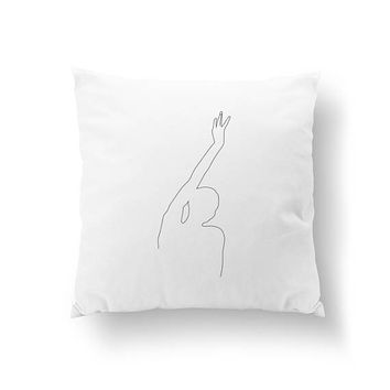 Raised Hand Pillow, Simple Fashion, Cushion Cover, Throw Pillow, Female Body Pillow, Beauty Decor, Bed Pillow, Home Decor, Black And White