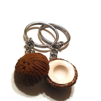 Best Friends Coconut Halves Key Chains, Polymer Clay Food Accessories, BFF