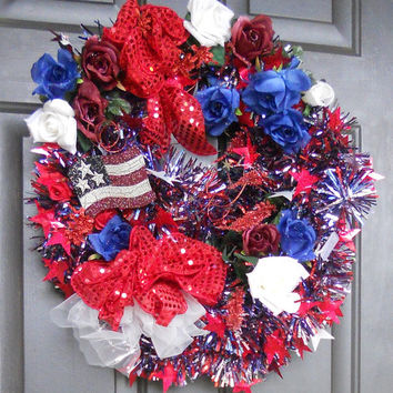 Patriotic Wreath, Americana Wreath, USA Decor, Memorial Day, 4th of July by Pebble Creek Designs
