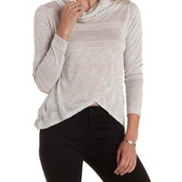 Striped Sweater Knit Cowl Neck Top by Charlotte Russe