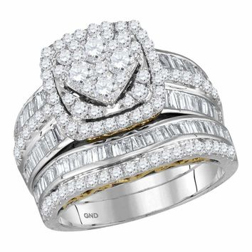 14kt Two-tone White Gold Women's Round Diamond Cluster Bridal Wedding Engagement Ring Band Set 1-3/4 Cttw - FREE Shipping (US/CAN)