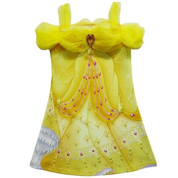 2017 Children Girl Dress Beauty and Beast Cartoon Summer 3D Print Dresses Kids Costumes Girls Party Birthdays Dress H782