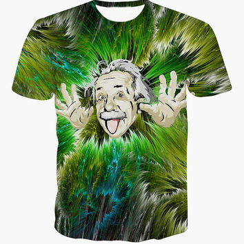 Albert Einstein All Over Print Hip Hop Urban Swag Sublimation All Over Print Shirt Tee Shirt Graphic Tee Gift Idea Free Shipping USA