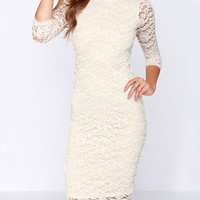 Lace Half Sleeve Backless Bodycon Dress With Back Bowtie