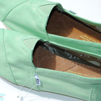 Womens Custom Hand Painted TOMS in Mint by PaperHeartsApparel