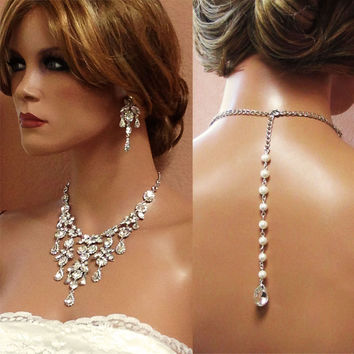 Bridal necklace, Vintage inspired bridal jewelry, Bridal back drop bib necklace , crystal pearl bridal statement, rhinestone jewelry