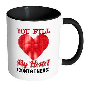 Valentines Gamer Mug You Fill My Heart Containers White 11oz Accent Coffee Mugs
