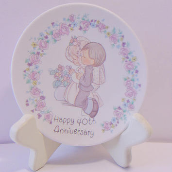 Precious Moments Mini Plate Happy 40th Anniversary Vintage 1989 Wedding Collectible Gift