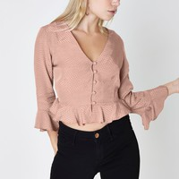 Petite pink textured polka dot frill blouse - Blouses - Tops - women