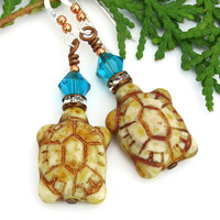 Turtle Earrings, Ivory Czech Glass Blue Zircon Crystals Handmade Artisan Jewelry Gift for Women