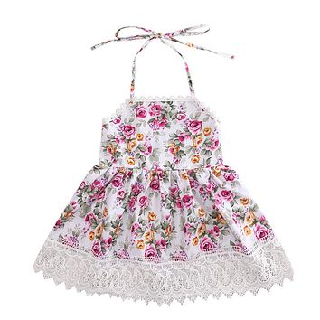 Princess Baby Kids Girl Backless Lace Floral Dress Wedding Party Formal Dresses