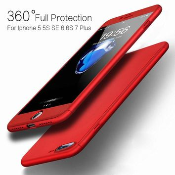 FLOVEME 360 Protective Case For iPhone 8 7 6S 6 Plus 5S 5 Tempered Glass Front Back Full Coverage Cover For iPhone 6 6S 7 8 Plus