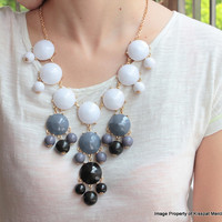 Sale! Black White Bubble Necklace, Jcrew Inspired Bubble Statement Jewelry,High Quality