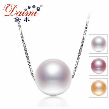 DAIMI Single Pearl Necklace, 925 Sterling Silver & 6-7MM Natural Pearl Choker Necklace, June Birthstone Bridesmaids Gifts JANE