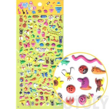 Tiny Mixed Insect Themed Beetle Butterfly Ant Snail Bug Shaped Puffy Stickers