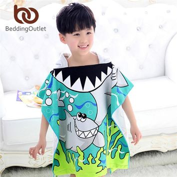 BeddingOutlet Microfiber Hooded Towel Printed Fast Drying Kids Hoody Bath Towel Tiger Shark Beach Towel 60x120cm