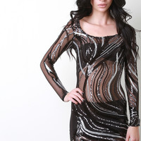 Metallic Sequin Swirl Mesh Mini Dress