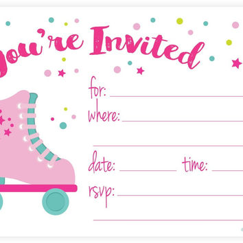 Roller Skate Party Invitations - Fill In Style (20 Count) With Envelopes by m&h invites