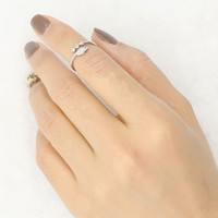 Silver Leaf Crystal Open Knuckle Ring