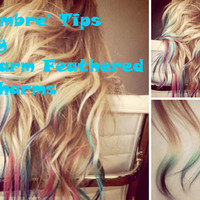 Hair Extensions - iTip -Ready to Ship - 20inch- Ombre Pastel Tips- Real Hair - 10 ITIP Extensions - Every Color of the Rainbow Available